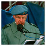 Carlos as a commentator during a military parade