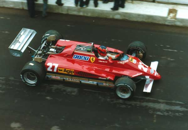 Gilles Villeneuve leaves the pit lane