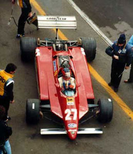 Gilles Villeneuve prepares for his qualifying lap-7