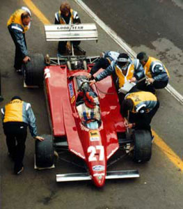 Gilles Villeneuve prepares for his qualifying lap-8