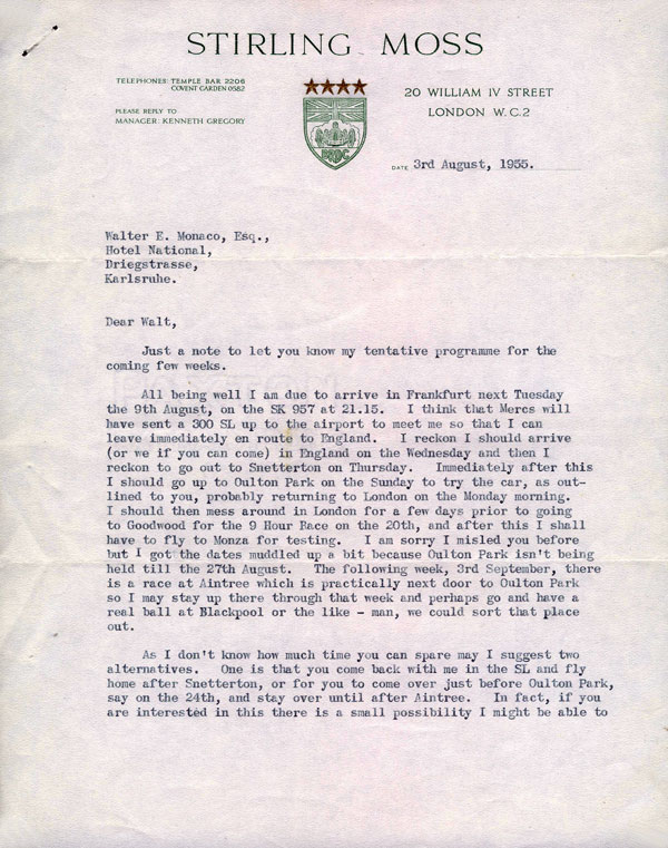 letter Sir Stirling Moss 12