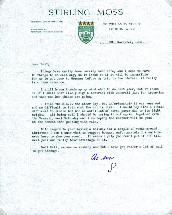 letter Sir Stirling Moss 1