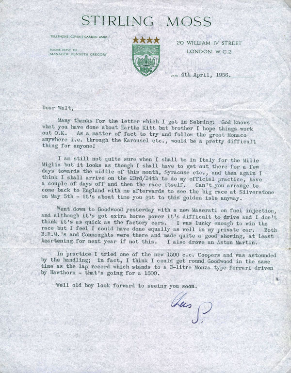 letter Sir Stirling Moss 2