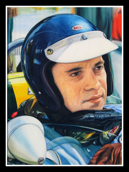 Close portrait of Jim Clark in the F1 Lotus, wearing his helmet