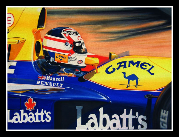 Nigel Mansell takes Loews hairpin in his 1992 F1 Williams-Renault FW 14B