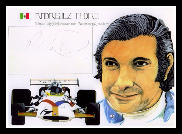 Pedro Rodriguez 1970, composition of portrait, Yardley BRM P 153 and original autograph