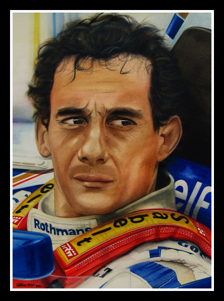 Close portrait of Ayrton Senna in his Williams-Renault (Imola May 1st 1994)