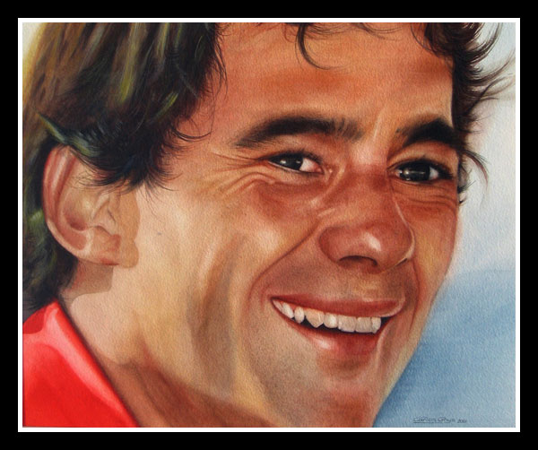 watercolour painting of Ayrton Senna, close portrait