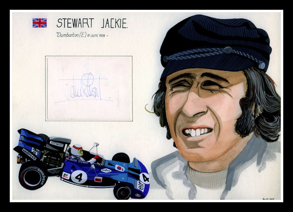 Jackie Stewart, composition with portrait, Tyrrell-Ford and original autograph