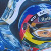 Jacques Villeneuve concentrates in his box on board his Williams F1